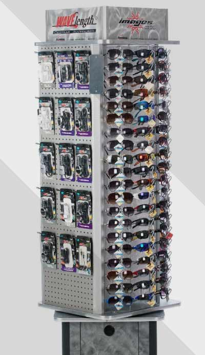 Glasses and cellphone accesories display