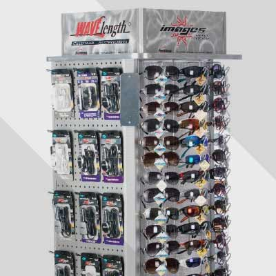 Glasses and cellphone accessories display